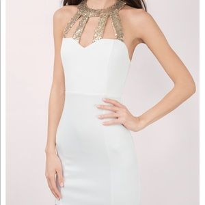 White dress with gold sequence **NEW